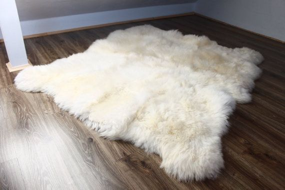 Genuine Natural creamy white Sheepskin Rug by naturalsheepskin