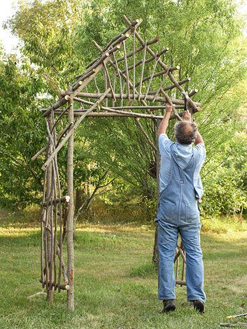 Nice: Garden Ideas, Twig Arbor, Willow Arbor, Corner Braces, Garden Gates, Outdoor, Rose Garden, Garden Arbor
