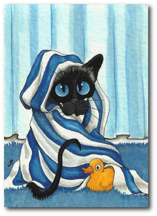 Siamese Cat Bath Towel Rubber Duck by Amylyn Bihrle. DreamCatchingStudio on Etsy