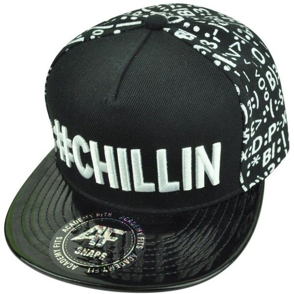 Hashtag Chillin Chill Snapback Flat Bill Emoticons Symbol Smiley Faces... ❤ liked on Polyvore featuring accessories, hats, cap snapback, snapback hats, flat bill snapback, caps hats and snap back hats