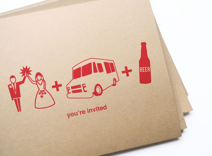 12 wedding, food truck & beer invitations // free personalization and custom color. $13.50, via Etsy.