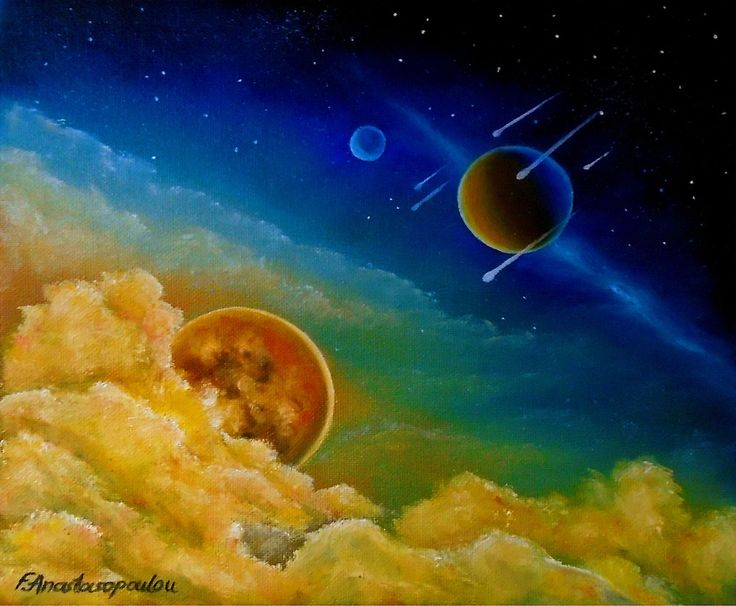 space, universe, cosmos, fantasy, sky, whimsical, art, painting, planets, blue, colorful