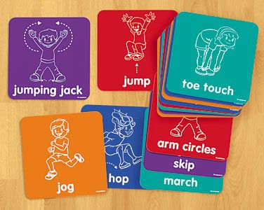 "Let's Get Moving! Activity Mats    ""Children skip, squat and stretch their way to coordination and physical fitness—with fun activity mats that are sure to get the whole class moving! You get 15 big, no-slip vinyl mats featuring 15 illustrated activities—perfect for indoor & outdoor games, music & movement activities, and more. Mats are 9"" x 9""."""