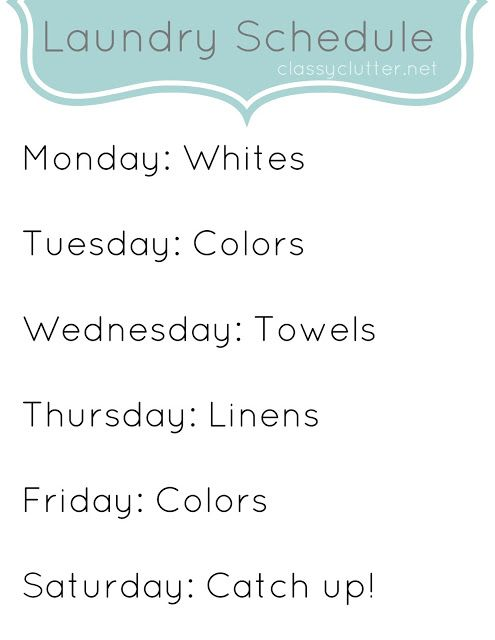 Weekly Cleaning Schedule – Laundry
