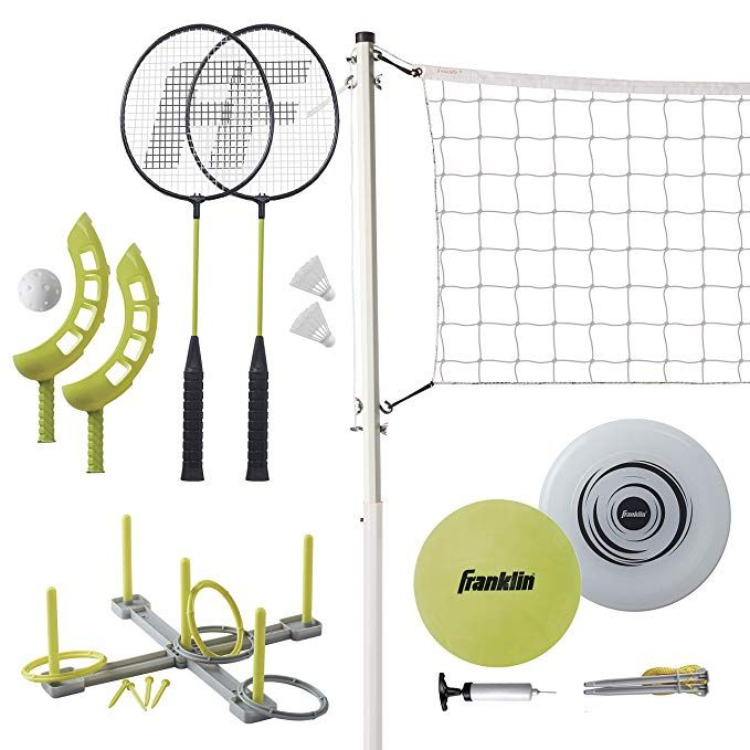 Amazon Com Franklin Sports Fun 5 Combo Set Badminton Volleyball With Pump Ring Toss Flip Toss And Flying Disc In 2020 Franklin Sports Badminton Set Badminton