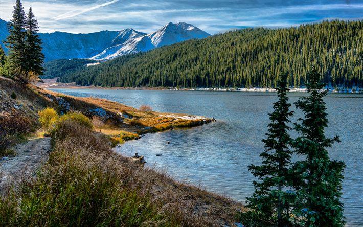 Descargar fondos de pantalla Río de montaña, de Cobre, estados UNIDOS, Montaña, bosque, montañas, Colorado