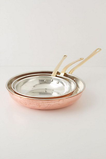Ruffoni Copper Pan Set ---Ruffoni crafts each pot and pan in an artisanal factory in Italy, where the solid copper vessels are coated with a hand-applied tin lining. Copper is the best conductor of heat, as it begins to warm instantaneously upon contact with the flame, allowing you more control for every cooking technique. And need we mention how beautiful it is?