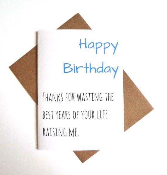 Funny parent birthday card, mom or dad birthday card