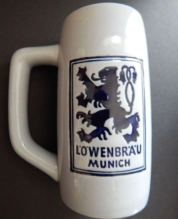lowenbrau beer stein | Lowenbrau Munich Beer Mug Stein Cup Glazed Stoneware Man Cave Bar ...