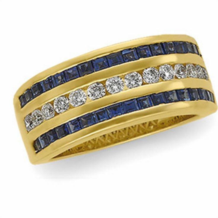 1/2 tdw Sapphire & Diamond Anniversary Band | Matthew Erickson Jewelers