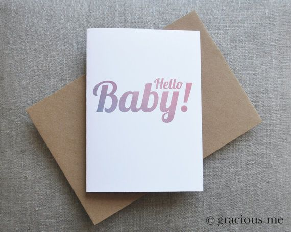 Baby Greeting Card New Baby Card Birthday Card by GraciousMeShop