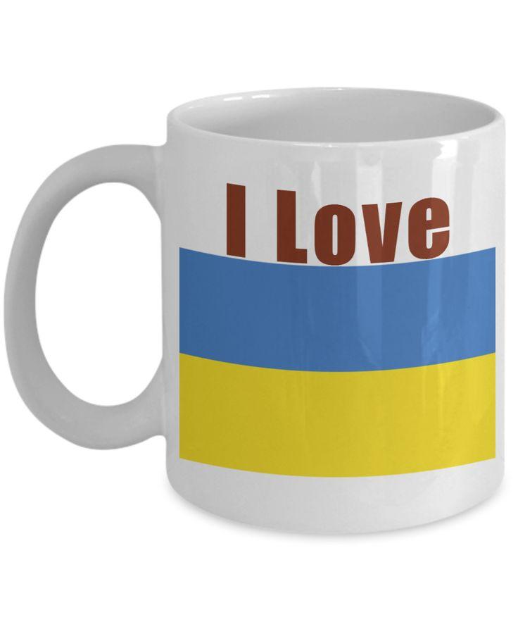 I Love Ukraine Coffee Mug With A Flag