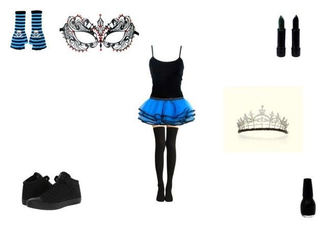 blue emo girl by mayleneholm on Polyvore featuring Masquerade, Converse and TIARA