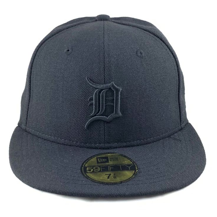 Detroit tigers black on black fitted cap with images