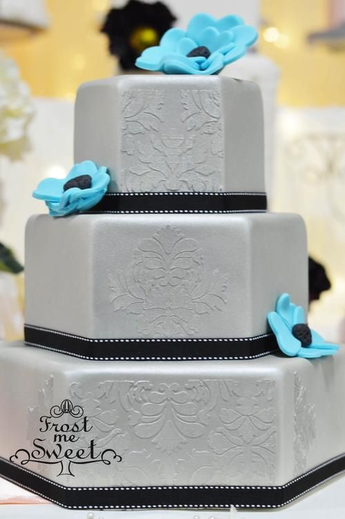 silver hexagon wedding cake by Frost Me Sweet
