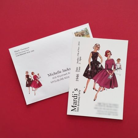 Sewing Dress Pattern invitation with matching envelope   Event Press