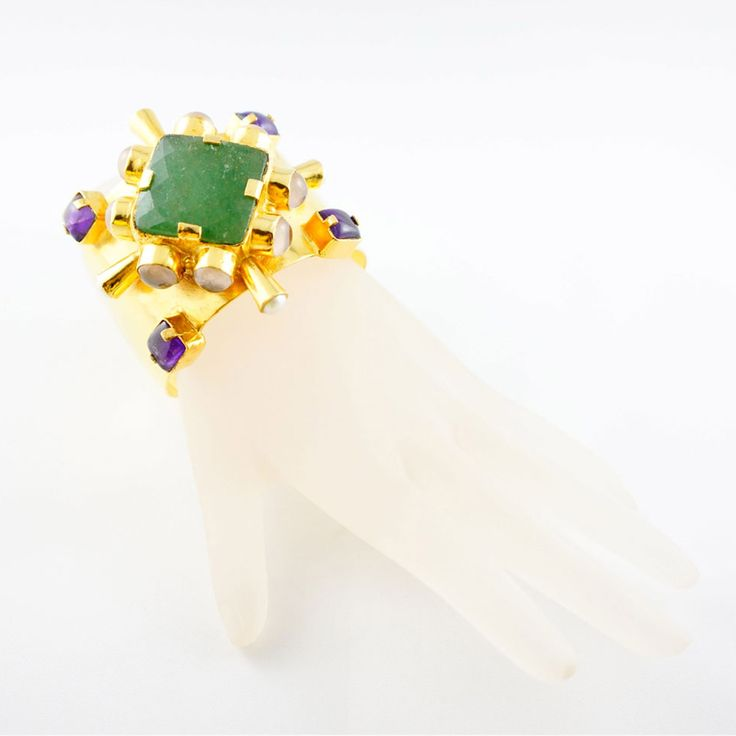 Cherrie Cuff - Alloy Metal (Nickel Free) 18th Kt Gold Plated with Green Onyx, Amethyst, Moonstone and Pearl cuff.