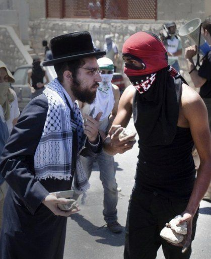 When orthodox Jews joined with Palestinian youths throwing stones at Israeli police  ROCK THE CASBAH! ROCK THE CASBAH!!!