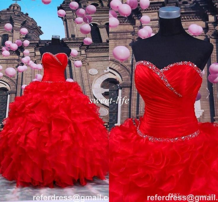 2015 Red Quinceanera Dresses Ball Gown Beaded Sweetheart Corset Ruffles Organza Sweet 16 Party Dresses Long Prom Gowns Plus Size Custom Made Online with $128.55/Piece on Sweet-life's Store | DHgate.com