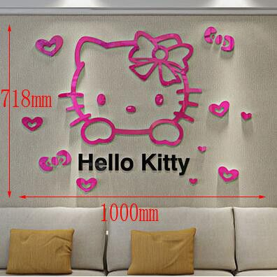 DIY 3D Wall Sticker Hello Kitty Wall Stickers For Kids Rooms Home Decoration Accessories Pegatinas De Pared