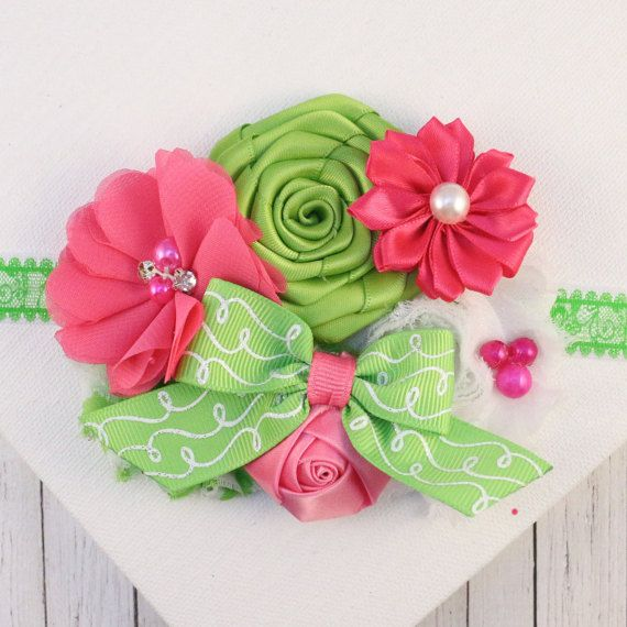 Pink Green Headband, Lime Flower, Pink Flower, Elastic Headband, Flower Headband, Baby Headband, Photo Prop, Hair Accessory, Shabby Rose