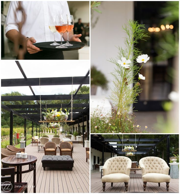 Casual #Wedding Pre-drinks area #decor. Casual lounge pockets, top tables, flowers suspended from the veranda. Decor by #Okasie. #ZaraZoo