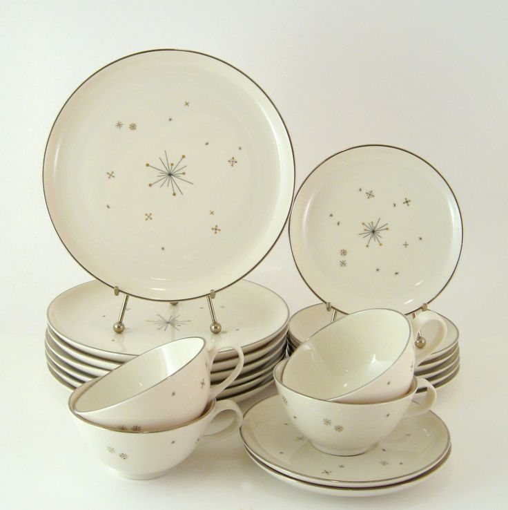 Vintage Dinnerware Set, Syracuse China Evening Star, Mid-Century Modern Atomic Dishes, 1950s 1960s. $84.00, via Etsy.