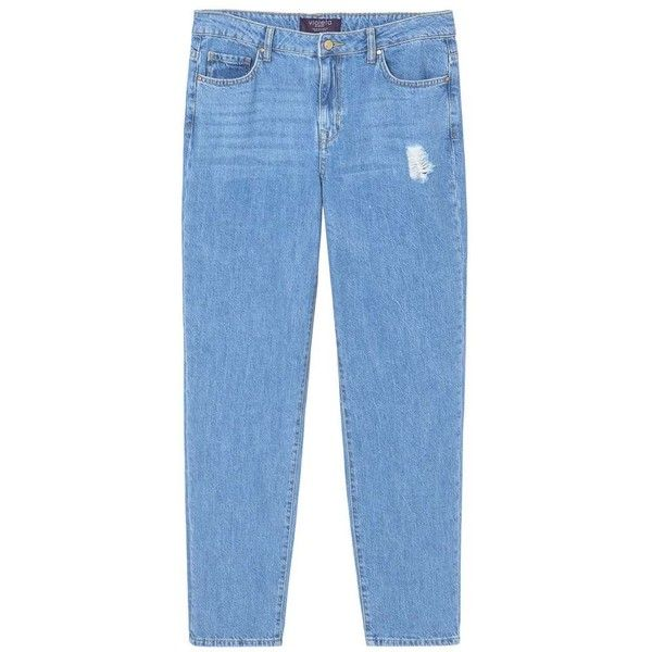 Violeta BY MANGO Relaxed Cigar jeans (€35) ❤ liked on Polyvore featuring jeans, blue jeans, button-fly jeans, destruction jeans, mango jeans and distressing jeans