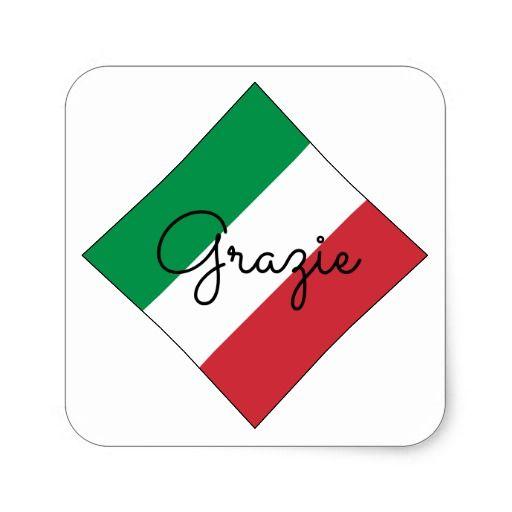 Italian Flag Color Design Thank You Grazie Square Sticker