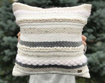 Handwoven pillow / Striped throw pillow / Luxury woven decorative pillow / Ecru gray pillow / Scandinavian pillow / Accent bedroom cushion