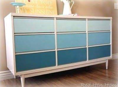 Do something like this by diluting the leftover paint from the kids' room?  Bottom drawer same as walls?