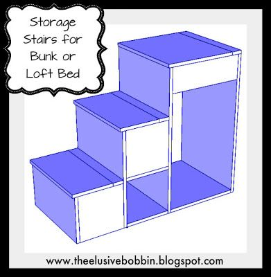 Free Storage Stair Plans for Bunk or Loft  Bed
