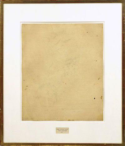 In 1953, Rauschenberg erased a drawing by de Kooning, which he obtained from his colleague for the express purpose of erasing it as an artistic statement. The result is titled Erased de Kooning Drawing.