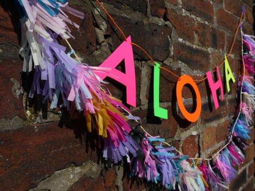 ALOHA - home and party decor - custom letter banner and tassel garland Handmade party decorations by Paper Street Dolls  Check out our store - paperstreetdolls.etsy.com