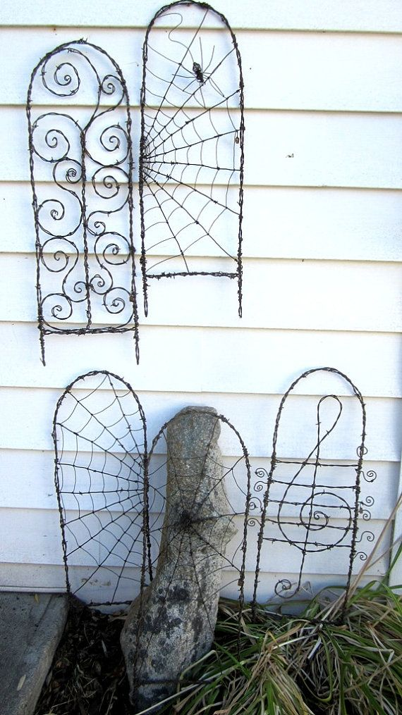 Beautiful Barbed Wire Spider Web Garden Trellis by thedustyraven, $57.00
