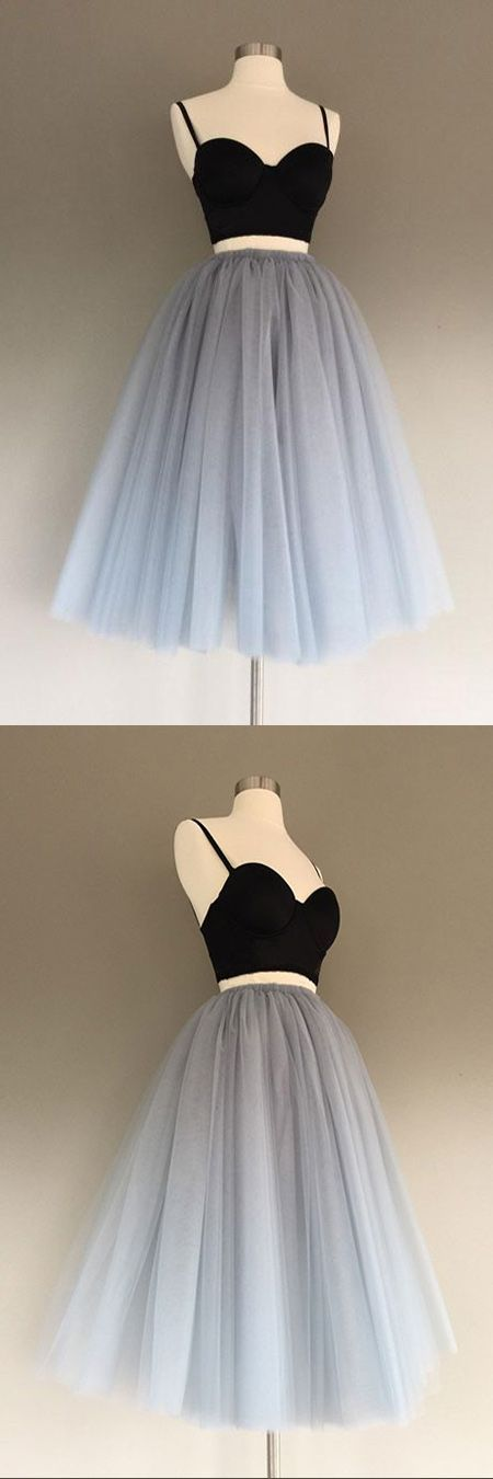 Grey Tulle Charming A-Line Two-Piece Short Homecoming Dress – cosplay