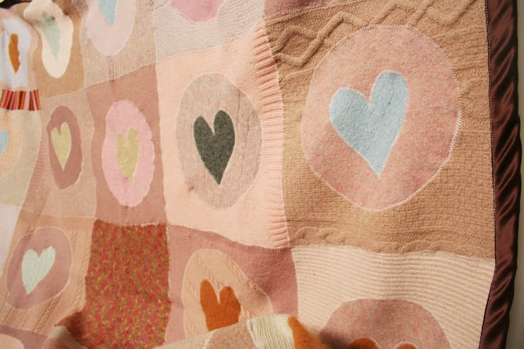 Recycled Wool and Cashmere Throw Blanket with Hearts by crispina ffrench--sweet