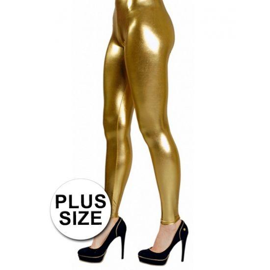 Grote maten legging goud voor dames. Deze gouden stretch legging is ideaal om uw gouden outfit helemaal af te maken!