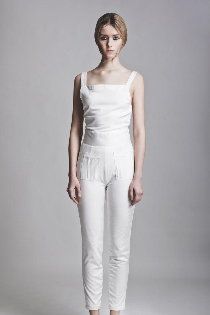 Clothes: Vassiliki Charitou SS15 Photographer: Vasilis Topouslidis Hair - Make up: Katerina Theofilopoulou  white jumpsuit