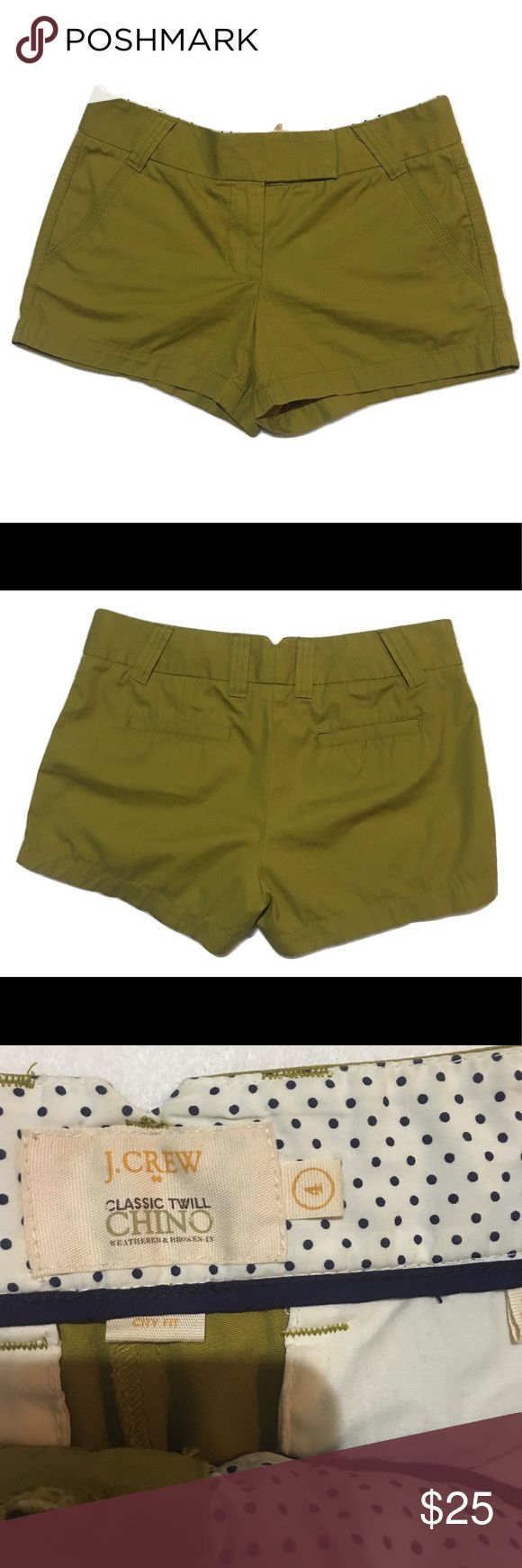 """J. Crew chino dark Olive green shorts size 4 Size 4! Excellent condition! Inseam is 3""""! J. Crew Shorts Jean Shorts"""