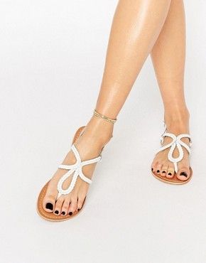 Sandalias planas de cuero trenzado FALLOW de ASOS                              …