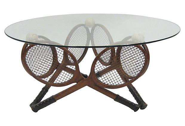 Coffee table w tennis racquet base on onekingslane com