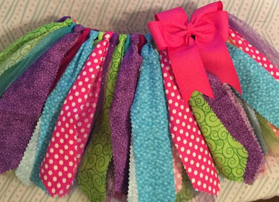 Hot pink, purple, lime green, and turquoise scrap fabric tutu