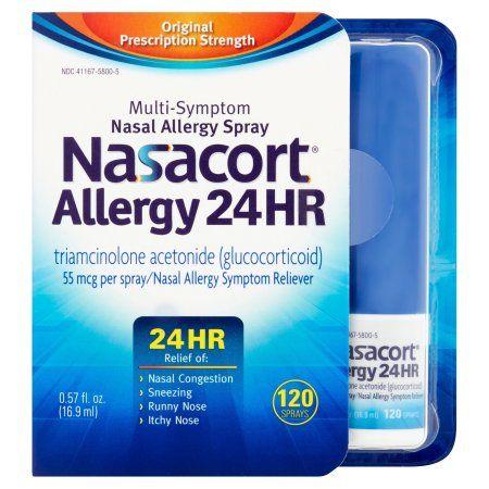 Nasacort 24 Hour Multi-System Nasal Allergy Spray 120 Sprays, Multicolor