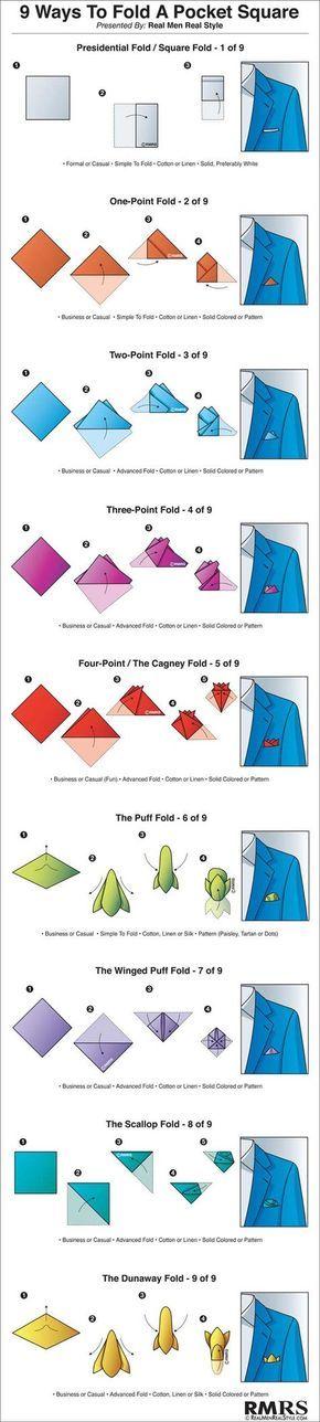 Formidable Comment Mettre Un Mouchoir De Poche #13: 9 Ways To Fold A Pocket Square Infographic