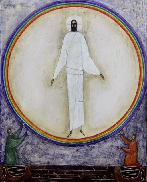 The contemporary icon below of the Ascension is by Ivanka Demchuk, Ukraine.