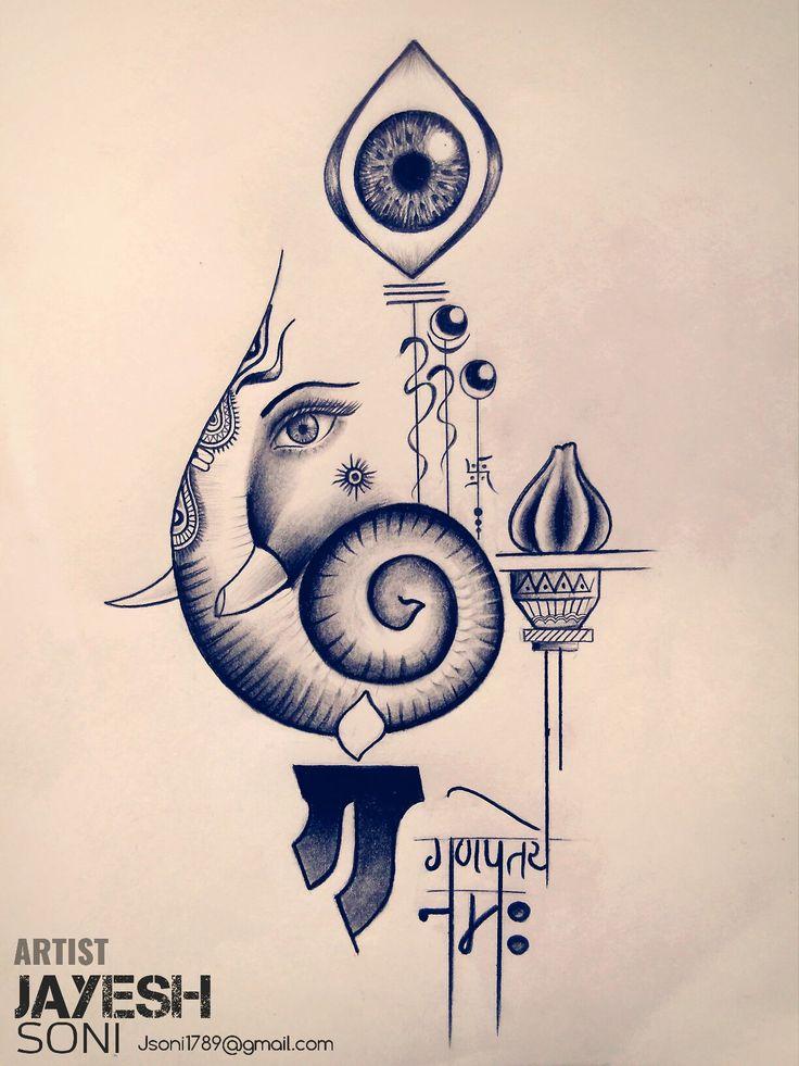 Totally customized artwork The Lord GANESHA. Art by - JAYESH SONI HOPE U ALL LIKE IT THIS TO. #ganpati #ganesha #ganeshtattoo #om #ganeshmantra #mantra #customized #lord #modak #art #eyeball #eyes #instaart #trishul #bappa #artist #artwork #artistic #artby #jayeshsonitattoo #bhopal #india