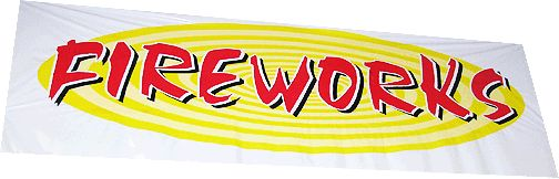 Banner Fireworks 2 x 5 - North Central Industries - www.greatgrizzly.com - MUNCIE INDIANA WHOLESALE FIREWORKS •Category: Promotional Accessories •Item Number: 1417 •Package Contents: 1 •Weight: 1 lbs Brand Name: Great Grizzly DESCRIPTION: 3 Color Printing! Comes individually 1 banner (100 pcs in a Master Carton)