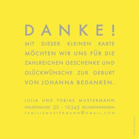 Dankeskarte Mini The Foto by Sibylle Derkenne für Rosemood.de #Danksagung #Babykarte #modern
