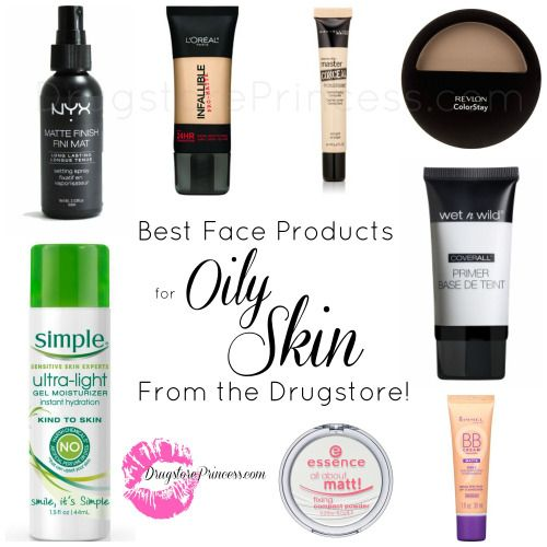 DrugstorePrincess.com's Favorite Face Products for Oily Skin!  Oily skin is a common complaint amongst DSP readers!  Makeup rarely holds up against shine, and that can be really frustrating, especially when your days are long!  This list is compiled of several products that can help keep the greasiness at bay for as long as possible, without hurting your wallet too much!